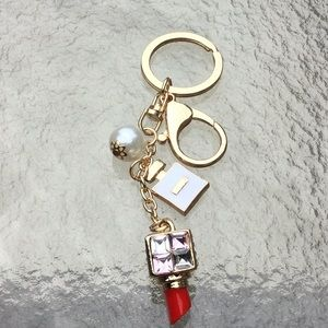 lipstick charm pearl  keychain handbag jewelry